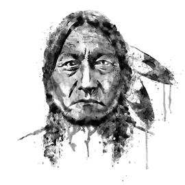 Sitting Bull Black and White by Marian Voicu