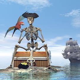 Elenarts - Elena Duvernay Digital Art - Skeleton pirate treasure - 3D render