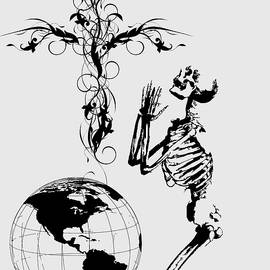 Skeleton Pryaing Cross Globe by Robert G Kernodle