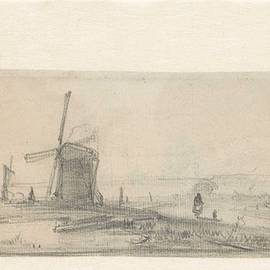 Andreas Schelfhout - Sketch of a landscape with a mill and a farm, Andreas Schelfhout, 1797 - 1870