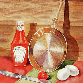 Skillet Eggs And Heinz Ketchup Watercolor  - Irina Sztukowski