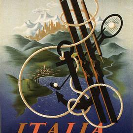 Skis, Anchor and Croquet - Vintage Travel Poster - Studio Grafiikka