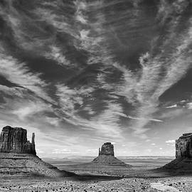Sky over Monument Valley bw by Jerry Fornarotto