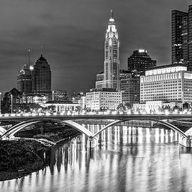 Gregory Ballos - Skyline view of Downtown Columbus Ohio at Dusk - Black and White