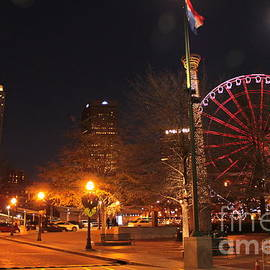 Skyview Atlanta ferris wheel lights Centennial Park by Charlene Cox