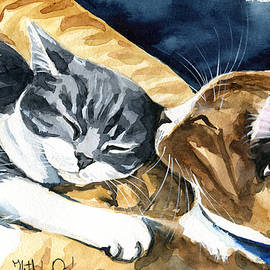 Sleep Well Little One Cat Painting by Dora Hathazi Mendes
