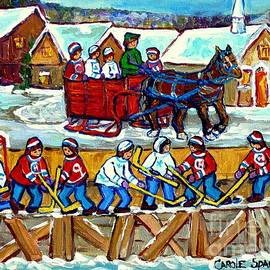 Sleigh Ride To The Hockey Rink Canadian Village Landscape Painting Quebec Winter Scene Art C Spandau by Carole Spandau
