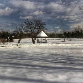 2503 - Snow Covered Gazebo In Winter Setting by Sheryl Sutter