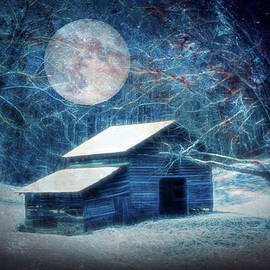 Debra and Dave Vanderlaan - Snow on the Country Barn Full Moon on Christmas Eve