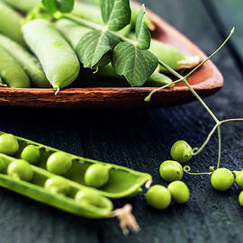 Snow peas or green peas still life by Vishwanath Bhat