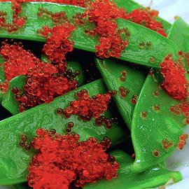 Snow Peas with Tobiko by James Temple