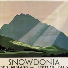 Studio Grafiikka - Snowdonia, Wales - London Midland and Scottish Railway - Retro travel Poster - Vintage Poster