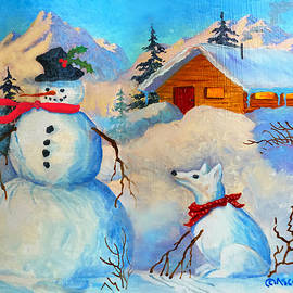 Snowman and Fido by Teresa Ascone