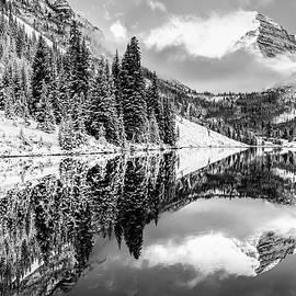 Gregory Ballos - Snowy Aspen Colorado Maroon Bells in Black and White