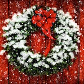 Snowy Christmas Wreath by Lois Bryan