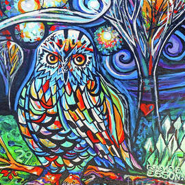 Snowy Owl Abstract With Moon by Genevieve Esson