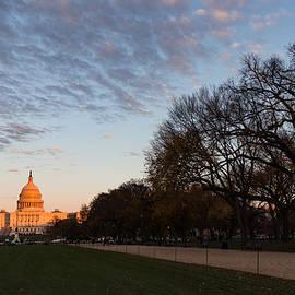 Soft Orange Glow - U S Capitol and the National Mall at Sunset by Georgia Mizuleva