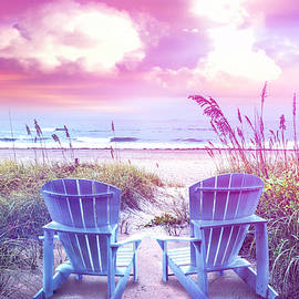 Soft Pastel Colors Chairs at the Sea by Debra and Dave Vanderlaan