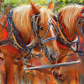 Solvang California Horse Drawn Wagon Art - Lourry Legarde