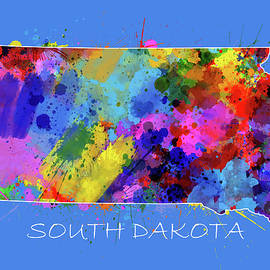 south dakota map color splatter 3 - Bekim Art