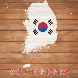 Dan Sproul - South Korea Rustic Map On Wood