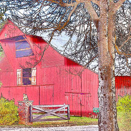 Southall Road Red Barn Color Sketch by Lorraine Baum