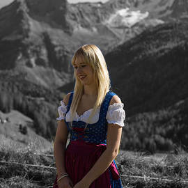 Southtyrolean Girl Dressed in a Dirndl                                           Dirndl by Eva Lechner