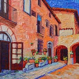 Spanish Villa In Sitges Modern Impressionist Impasto Palette Knife Oil Painting Ana Maria Edulescu