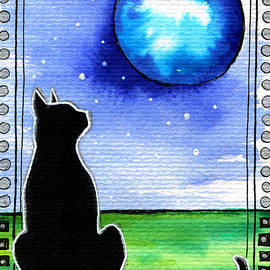 Sparkling Blue Bauble - Christmas Cat by Dora Hathazi Mendes