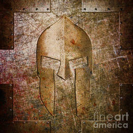 Spartan Helmet On Metal Sheet With Copper Hue by Fred Ber