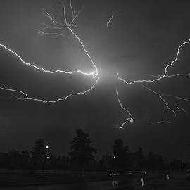 Jeff at JSJ Photography - Spider Lightning over DC in BW