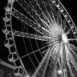 Reid Callaway - Spinning At Night Twenty Stores Up BW SkyView Ferris Wheel Centennial Park Atlanta, Georgia Art