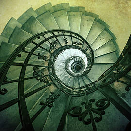 Spiral stairs in green tones by Jaroslaw Blaminsky