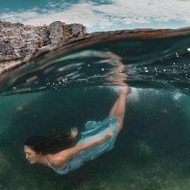 Todor Dimitrov - Split Level Beautiful Model In Blue Dress