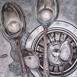 Spoons in sink painting by Lillian  Bell