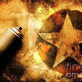 Spray can with army star graffiti - Jorgo Photography - Wall Art Gallery
