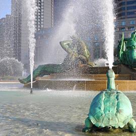 Bill Cannon - Spraying Water at Swann Fountain - Philadelphia
