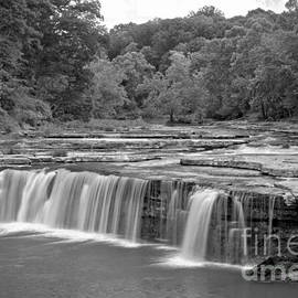 Spring At Lower Cataract Falls Black And White by Adam Jewell