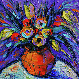 Mona Edulesco - Spring Bouquet in Orange Vase - Impasto Palette Knife Oil Painting