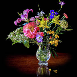 Spring Flowers In A Crystal Vase by Endre Balogh