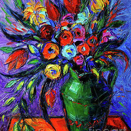 Mona Edulesco - Spring Flowers In Green Jug