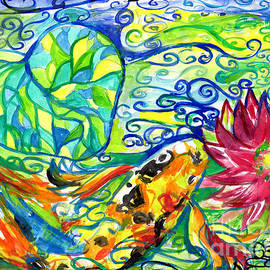 Spring Koi Fish With Water Lily