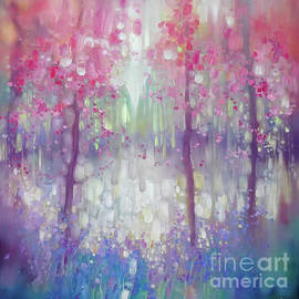 Gill Bustamante - Spring Shimmers Into Life - a woodland landscape painting with blossom and bluebells