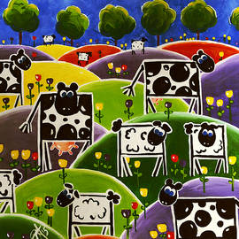 Spring Time Mixed Herd Holstein Sheep Flowers Hills by Jackie Carpenter