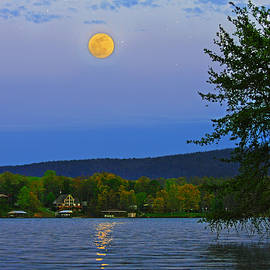 Spring's First Full Moon Smith Mountain Lake by The American Shutterbug Society