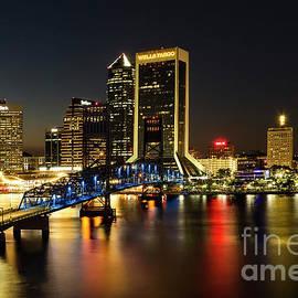 Kay Brewer - St Johns River Skyline By Night, Jacksonville, Florida