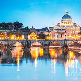St Peter's Basilica And Bridge Over Tevere At Dusk - Rome by Matteo Colombo