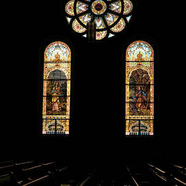 St. Stainislaus Winona Stained Glass Dark Interior by Kari Yearous