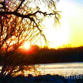 Stained Glass Sunrise On The Delaware River by Robyn King