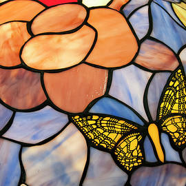 Chris Flees - stained glass with butterfly